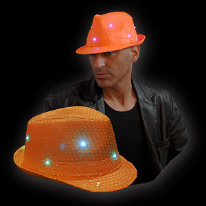 0894-002 LED PAILLETTEN HUT NEON ORANGE