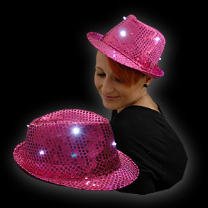 0814-017 LED PAILLETTEN HUT PINK